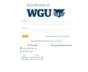 WGU Login for students