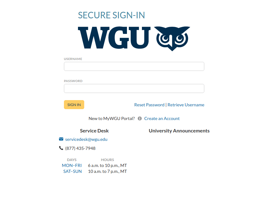 WGU Login for students
