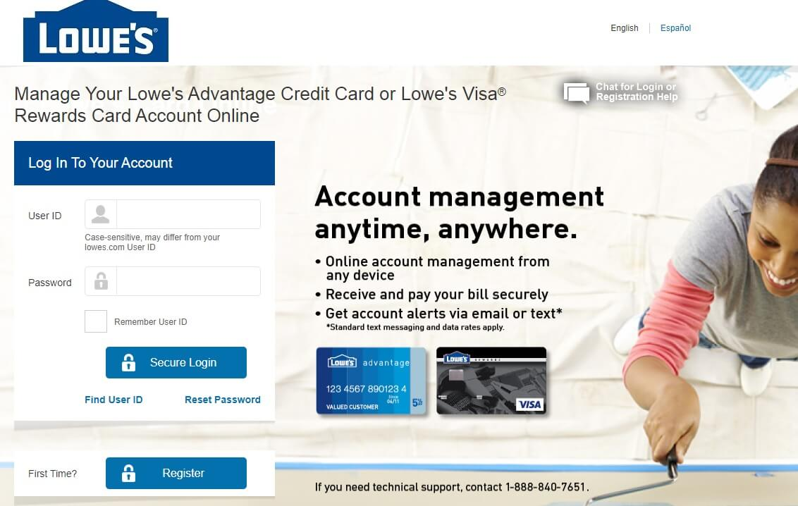 Lowe's credit card Login and Bill payment
