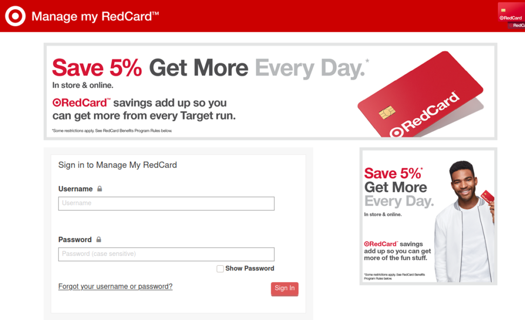 Target Red card login and Bill Payment
