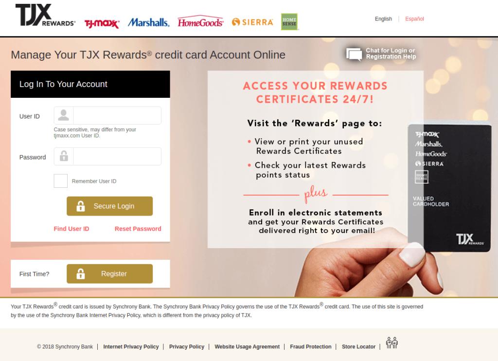 tjx rewards credit card login