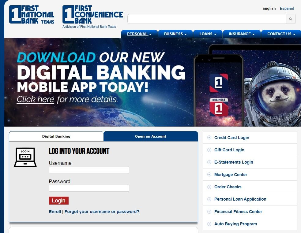 First National Bank Texas Login