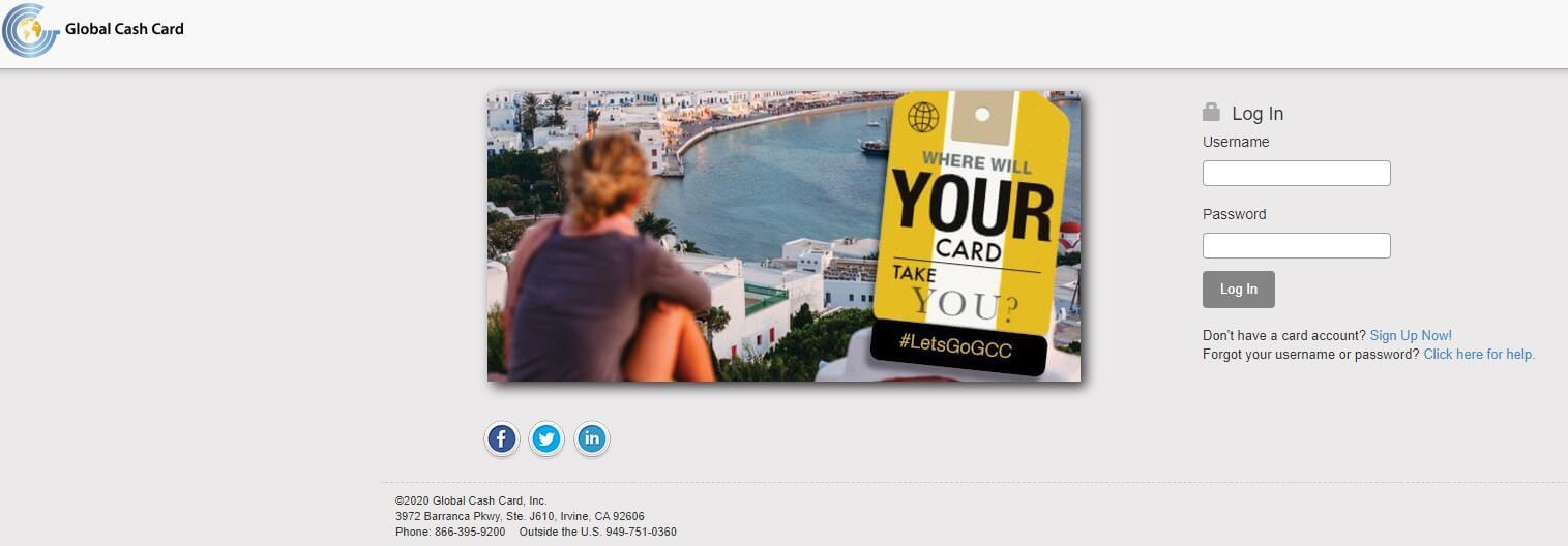 Global Cash Card Login