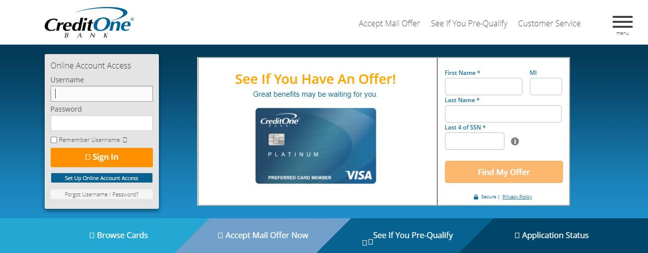 Credit One Login | Credit One Bank Login