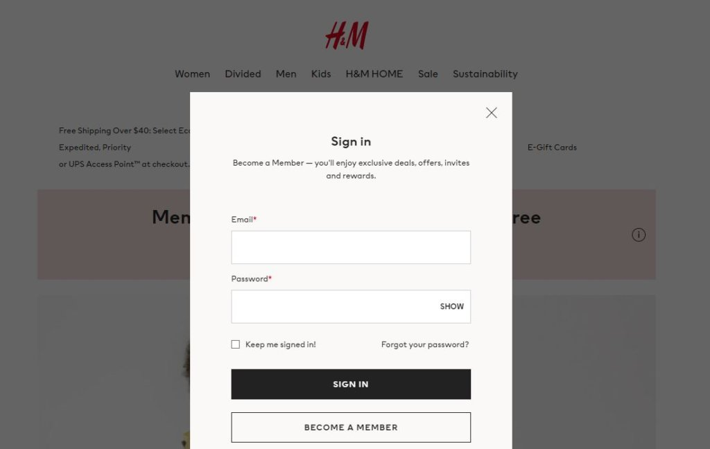 H&M Credit Card Application Login
