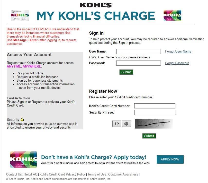 Kohl's Credit Card Login